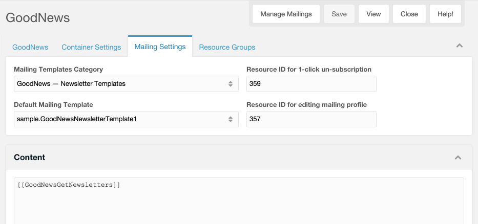 Screenshot: Mailing settings of a GoodNews container
