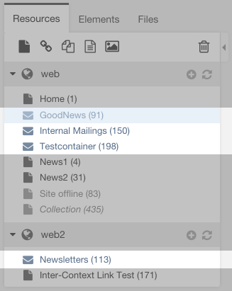 Screenshot: GoodNews Management Interface - Mailings Containers in Resource Tree