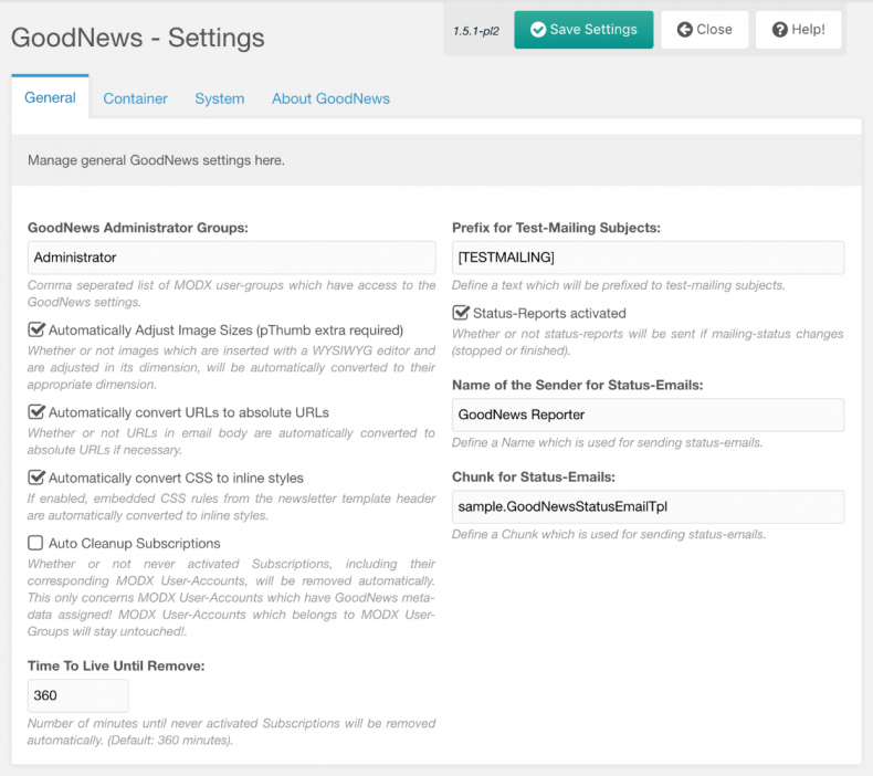 Screenshot: GoodNews Management Interface - Settings - General