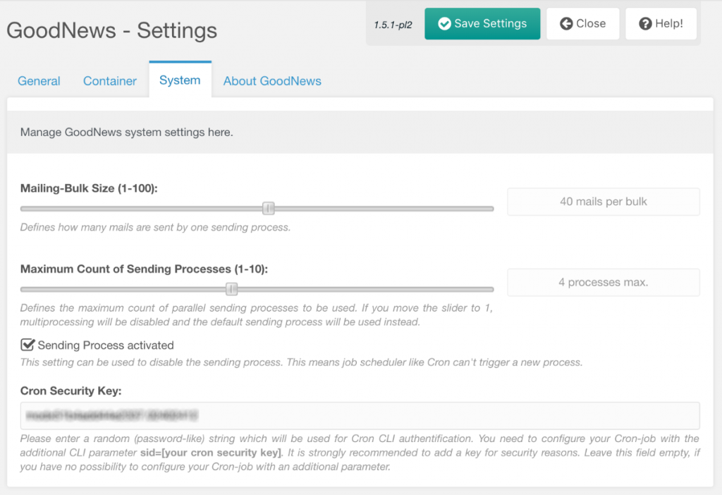 Screenshot: GoodNews Management Interface - Settings - System
